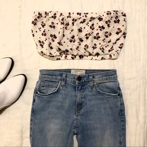 Free People strapless floral bandeau crop top